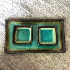 Turquoise sushi/sauce tray with two dishes